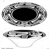 原始社会-器具图案-器皿图片线描稿件资料库(5)