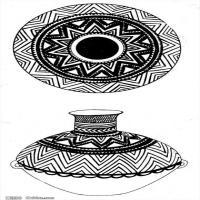 原始社会日用品-器具图案-器皿图片线描稿件资料库(2)