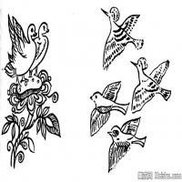 古代飞禽鸟类线描拓片库艺术家创作库中国美术图案库(4)