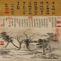 清代著名画家王翚山水花鸟立轴图片