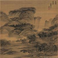 清代著名画家王翚古画山水花鸟立轴作品
