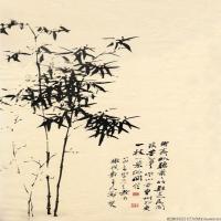 清代著名书画家郑板桥墨竹图绘画立轴