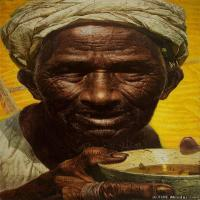 罗中立油画人物高清图片