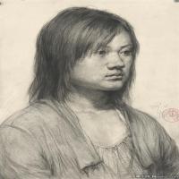 (3)素描半身艺考美考高分素描女性半身作品高清图片
