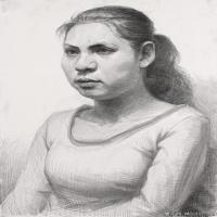 (4)素描半身艺考美考高分素描女性半身作品高清图片