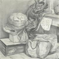 (1)素描静物美考优秀试卷艺考高分卷铅笔画美术生作品图片