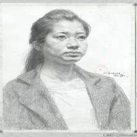 (2)素描半身艺考美考高分素描女性半身作品高清图片