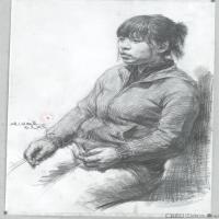 (1)素描半身艺考美考高分素描女性半身作品高清图片