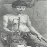 (5)素描半身艺考美考高分素描男性半身作品高清图片