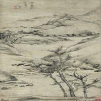 清代祝昌古画山水绘画作品