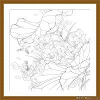 工笔线稿(1)当代画家工笔线稿线描高清图片