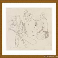 工笔线稿(1)古人手绘画稿线描研究图片高清图