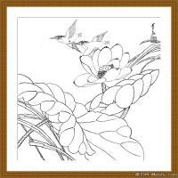 工笔线稿(3)当代画家工笔线稿线描高清图片
