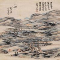 清代画家陈允升古画山水绘画作品