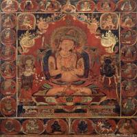 文殊菩萨老唐卡-佛教-佛画-神像图片