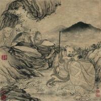 (3)佛画清石涛百页罗汉册页佛教宗教佛像图片