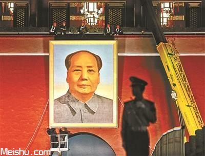 天安门城楼更换毛主席画像,整个过程持续1个多小时
