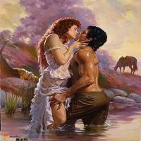 这样浪漫的吻只需一次,人间爱情油画