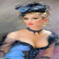 油画素描中的乌克兰美女
