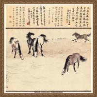 近现代徐悲鸿-五马图纸本96