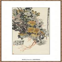 吴昌硕-老菊疏篱纸本