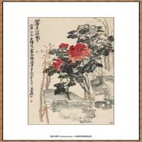 近现代吴昌硕-沈香亭牡丹图纸本67