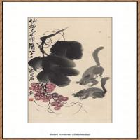 齐白石-葡萄松鼠图