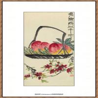 齐白石-三千寿桃纸本3