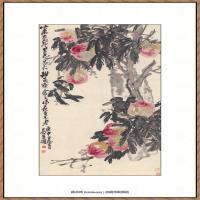 吴昌硕-九寿桃图纸本