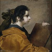 【打印级】YHR191129057-席尔瓦委拉斯凯兹Diego Rodríguez de Silva y Velázquez西班牙画家绘画作品集油画作品高清图片Una sibila (Juana Pa