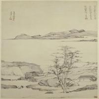 弘仁仿倪山水图轴-清朝-山水-中国古代山水绘画作品