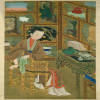 雍亲王题书堂深居图屏·博古幽思轴-清朝-人物