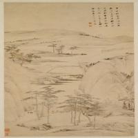 查士标秋林远岫图轴-清朝-山水-中国清朝山水画作品