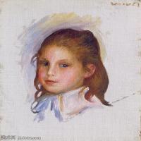 【打印级】YHR191548305-皮埃尔奥古斯特雷诺阿Pierre Auguste Renoir法国印象派重要画家雷诺阿印象派油画作品集  Child with Brown Hair-21M-251