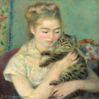 【打印级】YHR191548308-皮埃尔奥古斯特雷诺阿Pierre Auguste Renoir法国印象派重要画家雷诺阿印象派油画作品集  Woman with a Cat-21M-2530X300