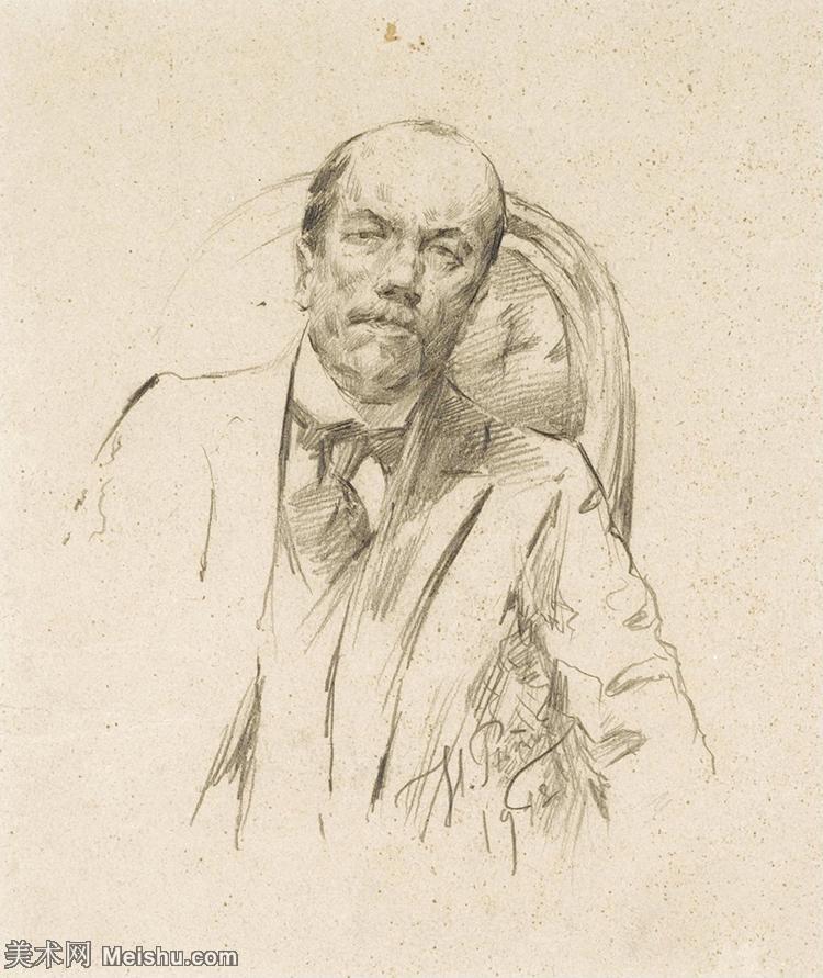 【欣赏级】SMR14154408-俄罗斯画家列宾Ilya Repin手绘素描速写作品图片素描手稿高清图片资料-9M-16