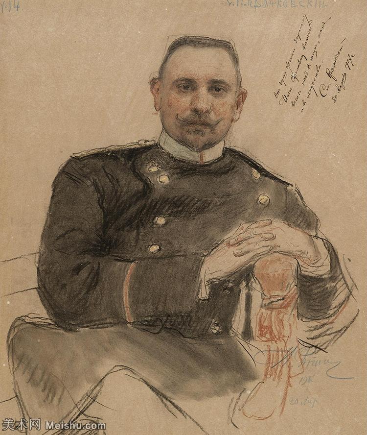 【欣赏级】SMR14154407-俄罗斯画家列宾Ilya Repin手绘素描速写作品图片素描手稿高清图片资料-9M-16