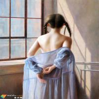 80后艺术家李华琪的人体油画卖到35万,画中少女可真美