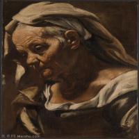 【打印级】YHR15114010-意大利画家卡拉瓦乔Caravaggio油画人物高清图片Head of an Old Woman-28M-2718X3666