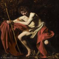 【打印级】YHR15114020-意大利画家卡拉瓦乔Caravaggio油画人物高清图片Michelangelo Merisi (Caravaggio) - Saint John the Baptis