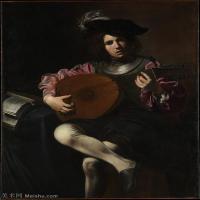 【打印级】YHR15114018-意大利画家卡拉瓦乔Caravaggio油画人物高清图片The Lute Player-32M-2965X3864