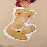 【印刷级】YHR151608108-奥地利绘画大师埃贡席勒 Egon Schiele油画作品高清大图席勒绘画作品高清图片-47M-3418X4901