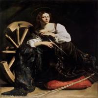 【印刷级】YHR15114032-意大利画家卡拉瓦乔Caravaggio油画人物高清图片Saint Catherine (1598)-49M-3652X4748