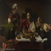 【印刷级】YHR15114043-意大利画家卡拉瓦乔Caravaggio油画人物高清图片Michelangelo Merisi da Caravaggio - The Supper at Emmaus