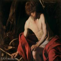 【印刷级】YHR15114034-意大利画家卡拉瓦乔Caravaggio油画人物高清图片John the Baptist -54M-5126X3705