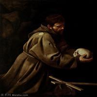 【印刷级】YHR15114050-意大利画家卡拉瓦乔Caravaggio油画人物高清图片Saint Francis in Prayer (c.1606)-84M-4699X6281