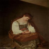 【印刷级】YHR15114037-意大利画家卡拉瓦乔Caravaggio油画人物高清图片Penitent Magdalene (1594-6)-61M-4198X5129