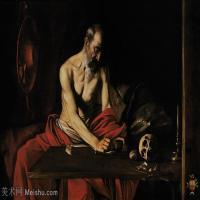【印刷级】YHR15114039-意大利画家卡拉瓦乔Caravaggio油画人物高清图片Saint Jerome Writing (c.1607)-63M-5699X3896