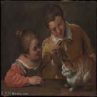 【打印级】YHR15114017-意大利画家卡拉瓦乔Caravaggio油画人物高清图片Two Children Teasing a Cat-32M-3913X2918