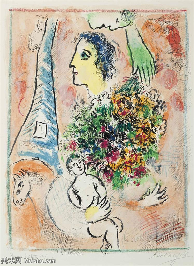 【打印级】YHR151642261-法国著名画家马克夏加尔Marc chagall抽象油画高清图片印象派油画作品图片-2